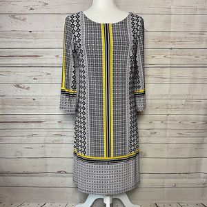 INC Sheath Dress Black Yellow White Size Small